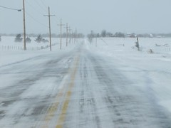 High points blow clean (jimsawthat) Tags: winter snow cold rural wind kansas roads blizzard drifts olathe