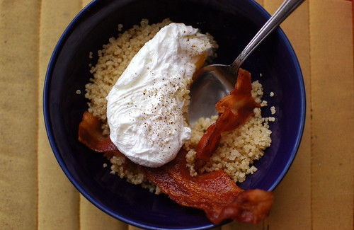 quinoa, poached egg, and bacon