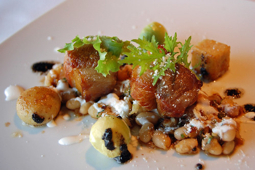 Tocina- Pork On a bead of White Beans, Crema,