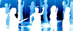 Ghosts (Lake Crimson) Tags: blue abstract cold color colour art monochrome painting dance dancing theatre performance dream experiment negative dreams inverted physicaltheatre electricblue neonblue edgehilluniversity departmentofperformingarts visualtheatre