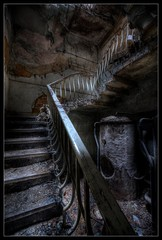 Stairway to... (Romany WG) Tags: urban house abandoned beautiful stairs dark decay creepy spooky staircase manor explorers exploration derelict atmospheric trespassing urbex boilers banisters hauntingly