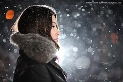 Snowstorm portrait (Konstantin Sutyagin) Tags: portrait woman white snow black girl beautiful night fur snowflakes pretty bokeh young russian