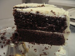 GF Chocolate cake with white chocolate cream cheese frosting