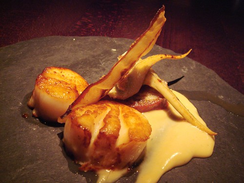 seared scallops, artichokes hearts & iberian bacon