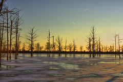 Patches (LarryHB) Tags: winter sunset cold ice night rural landscape clear missouri swamp melt patches wetland 2010 absolutelystunningscapes 2010lhb pwwinter