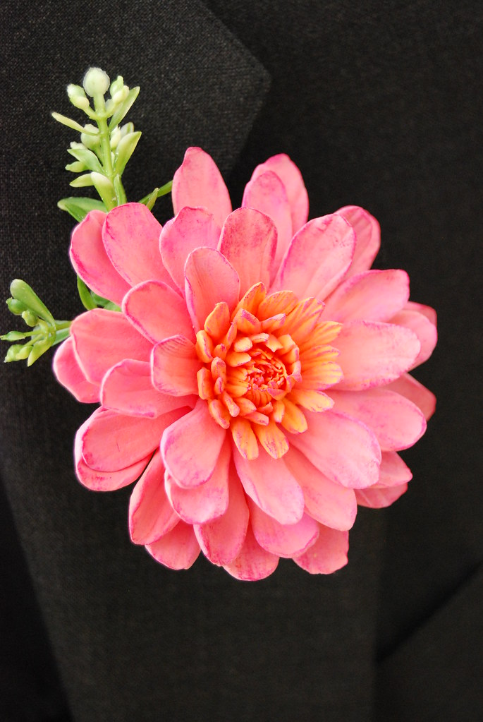 Dahlia Clay Flower Boutonniere