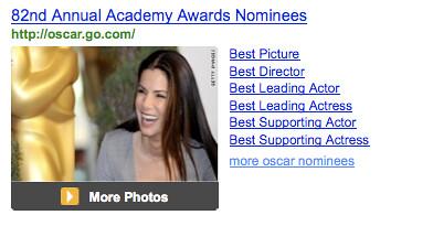 oscars on yahoo web search