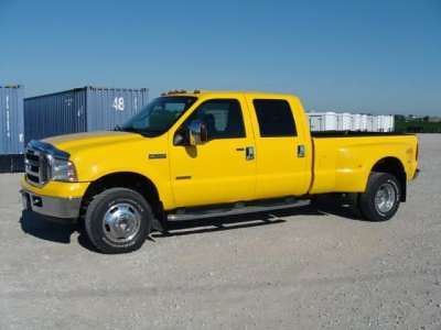 ford yellow truck 4x4 diesel 2006 amarillo f350 powerstroke daully