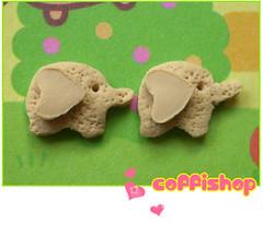 Elephant cookies (milk chocolate ears)- stud earrings (Coffilatte) Tags: food elephant cute coffee animal zoo miniature diy yummy cookie tea sweet handmade chocolate jewelry charm bijoux biscuit kawaii accessories earrings etsy stud studs coffishop