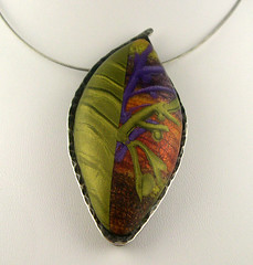 Polymer Clay Necklace (metalartiste) Tags: orange purple olivegreen naftali sterlingsilver artjewelry leafshape polymerclaynecklace