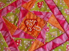 week 5 block for tiffany (joontoons) Tags: embroidery patchwork tiffany woodgrain toadstools quiltblock alexanderhenry goodfolks quiltingbee annamariahorner joeldewberry pinkorangegreen joontoons frunchy
