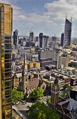 CBD Playground (Vermin Inc) Tags: city blue trees windows people cars church skyline clouds buildings reflections fun hotel different afternoon pentax australia melbourne victoria hyatt cbd hdr highdynamicrange k7 3xp crappykitlens heartofmelbourne 101collinsstreet justpentax impressivebuilding pentax1855f4