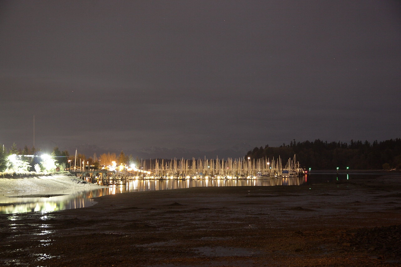 Swantown Marina, Eastbay Olympia, with Olympic Mountains and Priest Point Under Waxing Gibbous Moon