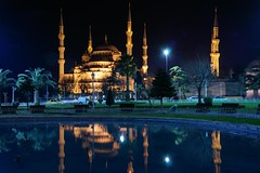 The blue mosque (Johan_Leiden) Tags: light reflection night turkey pond istanbul mosque bluemosque minarets sultanahmet