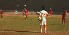 3D Sports (3DGUY.tv) Tags: red water fountain statue football 3d singapore soccer cyan anaglyph panasonic 3dguy 3dvideo 3dsports 3dguytv 3dcontent