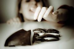 attack of the chocoholics #3 (robbie ewing) Tags: portrait woman white broken girl face dark easter hand bokeh head chocolate egg attack selena chocoholic afarewelltoarms lightroompreset strobistsunday