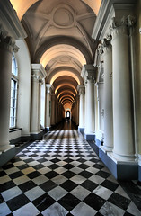 Russian Hall (` Toshio ') Tags: blackandwhite building history museum architecture stpetersburg hall floor russia interior perspective palace ceiling hallway historical saintpetersburg elegant hermitage pillars russian checkered depth hdr highdynamicrange toshio thehermitage abigfave