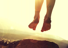 Can't Keep My Feet On The Ground (Boy_Wonder) Tags: sun mountains feet rock tattoo outside jump toes joel trp