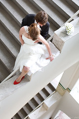 (Wave / Particle / Pixel) Tags: wedding light anna netherlands stairs geotagged groom bride couple university dress steps marriage suit help staircase wageningen balance bouquet weddingday bruiloft whiteblack weddingshoot trouwdag nld bruidsreportage jillis antikraak provinciegelderland lawickseallee antisquatting geo:lat=5196809379 geo:lon=565825939 bodemkunde redshoeshelp