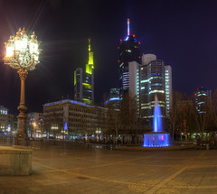 Luminapolis (rawshooter72) Tags: longexposure light urban skyline architecture modern night skyscraper canon eos rebel long exposure shot frankfurt main low xs hdr hdri 2010 18mm opernplatz photomatix luminale tonemapped 5xp 1ev 1000d