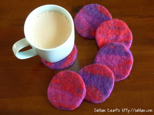 Fuchsia Felt Coasters