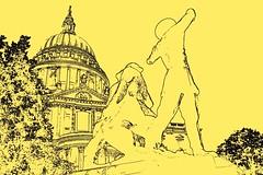 London Sketches (pallab seth) Tags: city uk england abstract london art architecture painting landscape sketch photo spring nikon cathedral britain postcard picture stpauls kitlens eu software dslr photosketch nikon1855mmf3556gafsdxvr d3100 nikond3100 colouroutline
