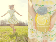 Lemon Delight (Kimberly Chorney) Tags: motion field grass sunshine yellow spring dress sweet lemonade lemons twirl jar dippy