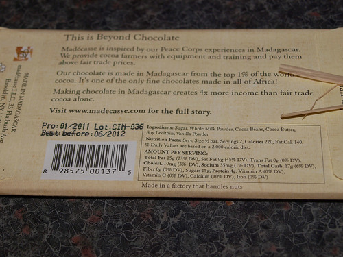 Madécasse 44% Single Origin Madagascar Milk Chocolate Bar