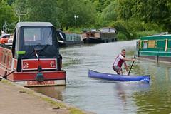 Canoeist on the Grand Union (Adrian Court LRPS) Tags: water boats miltonkeynes paddle canoe canoeist grandunioncanal narrowboats campbellpark