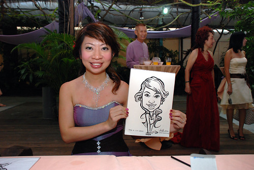 Caricature live sketching for Mark and Ivy's wedding solemization - 2