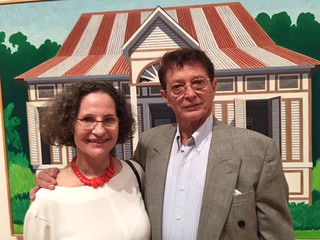 Ann Koll, Emilio Sanchez foundation Director, with Emilio's former assistant, Rolando Paz at the Lowe museum opening