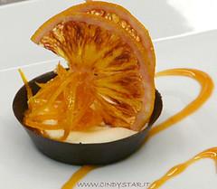 tartelletta cioko, crema grana e arancia