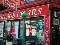 village cigars (omoo) Tags: newyorkcity newspapers westvillage cigars subwayentrance magazines cigarettes greenwichvillage cornerstore sheridansquare villagecigars retailstore christopherstreetstation 7thavenuesouthatchristopherstreet