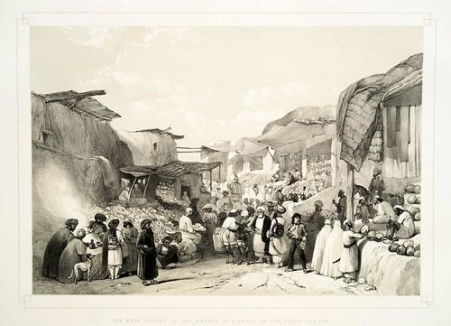 023-La calle principal en el bazar de Caubul en la temporada de la fruta-Sketches in Afghaunistan 1842- James Atkinson