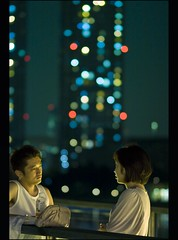 The romantic beauty of skyscrapers (Fabio Sabatini) Tags: blur japan canon tokyo blog bokeh 100mm depthoffield   odaiba f2 daiba boke tokyobay      honsh reinbburijji tkywan