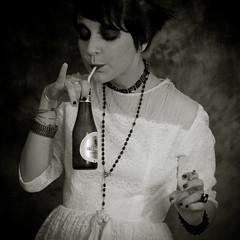 A cup of beer ? (Christine Lebrasseur) Tags: portrait people blackandwhite woman france art 6x6 beer canon vintage drink body cigarette smoke drinking smoking bust blandine elegance 500x500 challengeyouwinner