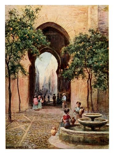 006-Sevilla Patio de los Naranjos-Southern Spain 1908- Trevor Haddon