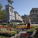 Luxembourg-centre: Place Guillaume II, statue équestre Guillaume II et marché aux fleurs