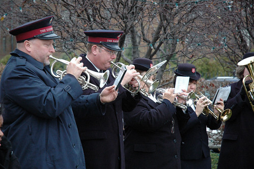 The Salvation Army Brass Ensemble playing for the Tree of Lights ceremony, 2009.