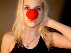 07.32 Fisherman's Woman (red nose for unicef) (sunshine eve) Tags: unicef eve red portrait selfportrait sunshine self nose clown blonde pucker sunneva