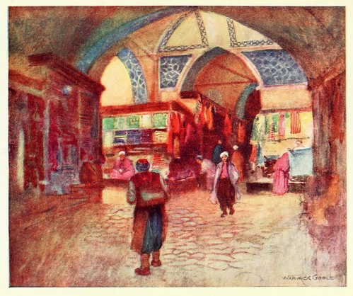 031-En el Gran Bazar de EStambul- Constantinople painted by Warwick Goble (1906)