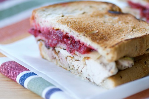 leftover thanksgiving turkey sandwich with cranberry sauce, gouda, and sage mustard DSC_0014