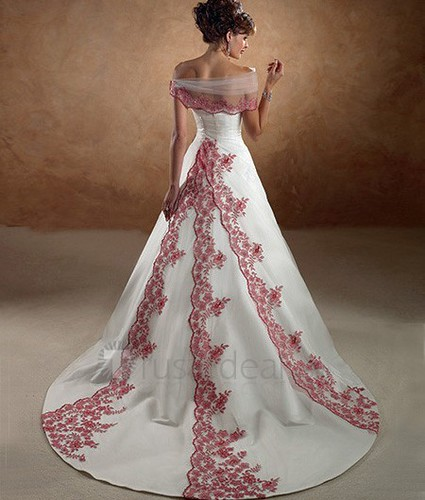 wedding dresses with colored embroidery. wedding gown with embroidery