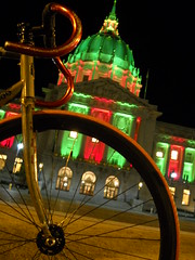 Masi in Front of City hall (J.B. Davis) Tags: sanfrancisco lighting city holiday bike hall holidays track masi ltd speciale
