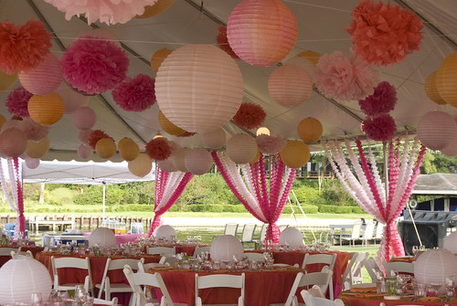 Watercolored paper lanterns and Martha Stewart pompoms streamers