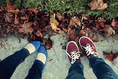 (Sarah Ching) Tags: blue winter red fall feet grass leaves leaf stem shoes angle walk maroon cement ground down sneakers flats jeans denim vans twigs laces birdseye skinnyjeans trisarahhtops