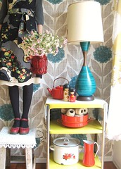 bench monday... rearranging (dottie angel) Tags: selfportrait me bench myself monday andi rearranging vintagehome dottieangel benchmonday clearinguptheclutter ithinkimightlikered