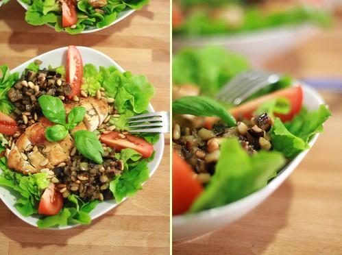 Salade provençale au poulet et à l'aubergine