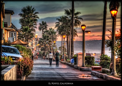 El Porto, California (szeke) Tags: ocean california street light sunset people urban woman usa house man beach clouds landscape person us losangeles unitedstates pacific lamppost manhattanbeach thestrand hdr elsegundo 2010 elporto photomatix nikcolorefex imagenomic mygearandme