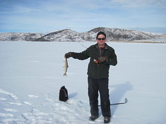 Eric With a Lake Trout (fethers1) Tags: fishing icefishing laketrout williamsforkreservoir